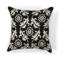 KAS Rugs Pillow 118 Black and White Finesse Hand-Made 100% Cotton Pillow with Po Black and White Home Decor Pillows Pillows