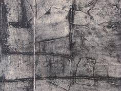J Demeri Etching, Black Scale Art Work, Large Scratchy Texture Framed Modern Art, Estate Find