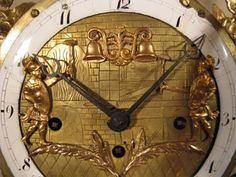 Antique Vienna Jaquemart Automaton Clock 1830, 2 small Jaquemarts (or Jacks) hit the bells when the clock chimes.