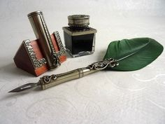 Bortoletti Feather Quill Dip Pen, Inkwell & Pen Holder