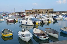 Boats in the harbour on a calm summer evening. Lyme Regis | Dorset