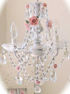 vintage chandelier | Vintage 3 Light Crystal Rose Chandelier - The Frog and the Princess