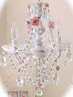 vintage chandelier | Vintage 3 Light Crystal Rose Chandelier - The Frog and the Princess