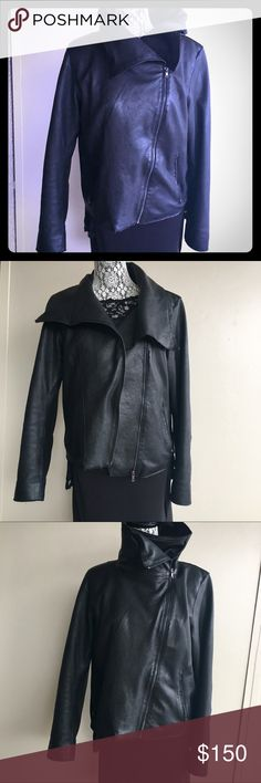 Elie Tahari lambskin leather jacket with collar L Size large but fits medium - super soft leather - collar retains its shape by the wire inside - very versatile ways of wearing it . Perfect condition on the outside . The inside pocket has a hole in the inner lining fabric -(might be fixed by just sewing that in) Asymmetrical zipper Elie Tahari Jackets & Coats