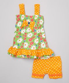 Orange & Green Floral Top & Shorts - Infant