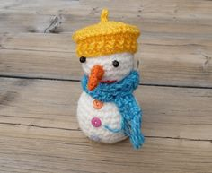 Crochet snowman, handmade, Christmas decor, winter ornament, winter gift, white, yellow, turquoise - pinned by pin4etsy.com