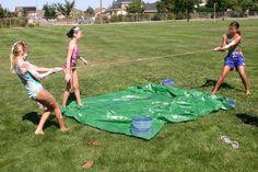 tug-of-war; but something messy on the tarp