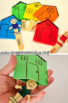 Fun Little People with their own houses I want to try this to play with the kids English Activities, Educational Activities, Learning Activities, Preschool Activities, Teaching Kids, Kids Learning, Art For Kids, Crafts For Kids, Family Theme