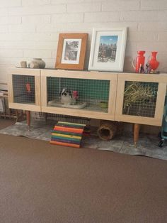 Spiffy Large Indoor Rabbit Hutch Ideas For Keeping Your Pet Rabbit Happy, Healthy and hopping around your home. Including diy bunny cages, rabbit runs and bunny yards. Turn old furniture into a rabbit hutch. Indoor Rabbit House, Rabbit Hutch Indoor, Indoor Rabbit Cage, House Rabbit, Diy Bunny Cage, Bunny Cages, Rabbit Cages, Diy Bunny Hutch, Rabbit Cage Diy