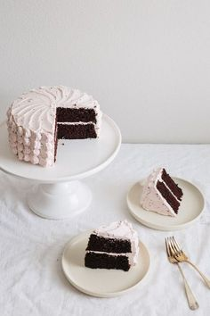 Chocolate layer cake with cherry buttercream