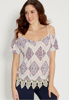 patterned cold shoulder top with crochet (original price, $32) available at #Maurices