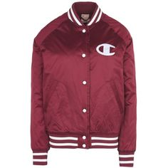 Champion Reverse Weave Jacket ($180) ❤ liked on Polyvore featuring outerwear, jackets, maroon, red padded jacket, long sleeve jacket, blouson jacket, single breasted jacket and maroon jacket