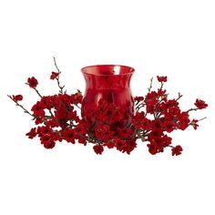 nearly natural Artificial Plum Blossom Centerpiece & Candleholder, Red