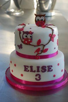 Owl cake for a girl