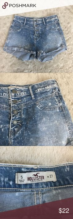 "Hollister High Waisted Denim Shorts *SALE Size 5/27 Mom Jean Shorts. 4 buttons down front. Stonewash-like look. Super cute! 2"" inseam, 10"" rise Hollister Shorts Jean Shorts"