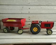 Vintage Tonka Farm Tractor Toy With Wagon, 1980's Tonka Collectible, Pressed Steel Tractor Toy by EmptyNestVintage on Etsy