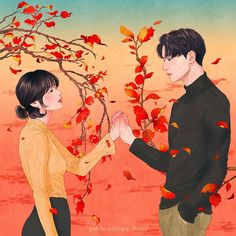 A Korean Artist Create These Tender Illustrations For Love Couples - Contentsity Art And Illustration, Korean Illustration, Landscape Illustration, Cute Couple Art, Anime Love Couple, Cute Anime Couples, Couple Drawings, Love Drawings, Art Drawings