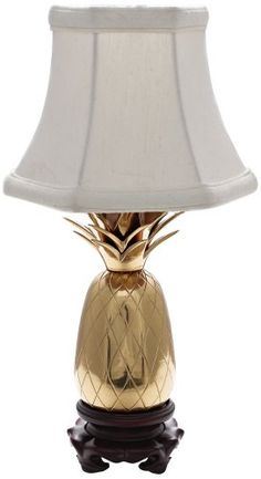 POLISHED BRASS WHITE SHADE MINI PINEAPPLE ACCENT LAMP  - Click image twice for more info - See a larger selection of tropical beach lamp at http://tablelampgallery.com/product-category/tropical-beach-table-lamps/ - home, home decor, home ideas, lightning, gift ideas, lamp.