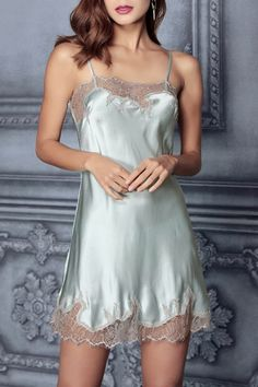 Dilansi Light Blue Lace Slip Silk Sleeping Dress | Sleepwear at DEZZAL