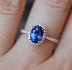 Rose gold sapphire ring. 2.54ct Royal blue by EidelPrecious