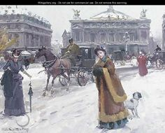 Figures in the snow before the Opera House, Paris - Joan Roig Soler