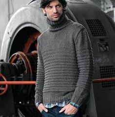And this one would suit him too. Knitted Coat, Hand Knitted Sweaters, Poncho Sweater, Men Sweater, Mens Turtleneck, Winter Outfits Men, Knitwear, Knitting, Casual