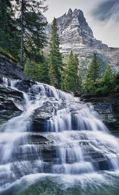 Waterfall, Glacier National Park, Montana; photograph by Donald Schwartz