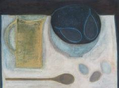 Still Life with Pears, Eggs and Spoon by Vivienne Williams