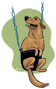 Swing Dog Illustration by Josh Ellingson