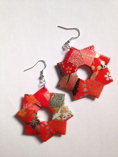 Red Modular Star Origami Earring