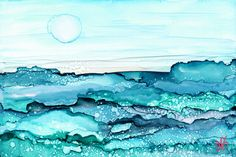 Shimmering Seas-  Alcohol Ink Painting -  Matted and Ready to Frame on Etsy, $16.97 CAD