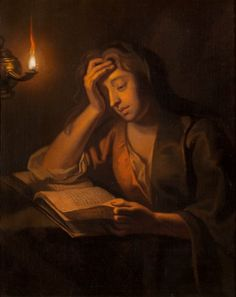 Portrait of a Lady Reading by Candlelight by Enoch Seeman (1690– 1744)
