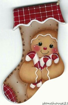 Painted wood gingerbread man stocking