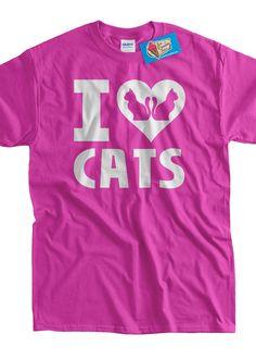Cat T-Shirt Kitty T-Shirt Kitties I Love Cats T-Shirt I Heart Cats T-Shirt  Screen Printed T-Shirt Tee Shirt T Shirt Mens Ladies Womens by IceCreamTees on Etsy https://www.etsy.com/listing/126957171/cat-t-shirt-kitty-t-shirt-kitties-i-love