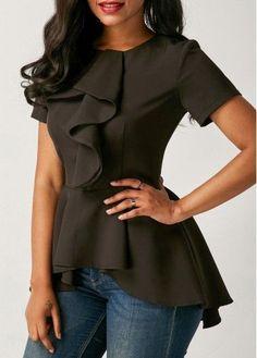 trendy tops for women online on sale Trendy Tops For Women, Blouses For Women, Blouse Styles, Blouse Designs, Vestido Lady Like, Beautiful Blouses, Short Sleeve Blouse, Look Fashion, Women's Fashion Dresses