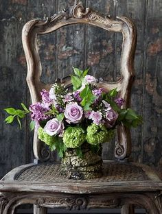 Purple and Green and French - love this flower arrangement - Belle Francaise Interiors