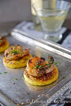 Prawns on Crisp Polenta Rounds with Sun-Dried Tomato Dipping Sauce -This is the kind of stress-free appetizer we all need to add to our entertaining arsenals.