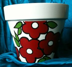 This item is unavailable Painted Clay Pots, Painted Flower Pots, Hand Painted, Clay Pot Projects, Clay Pot Crafts, Diy And Crafts, Pottery Designs, Pottery Art, Decorated Flower Pots