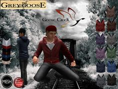 (WEAR ME) Goose Creek Outfit (Hoodie & Jeans) secondlife, sl, avatar, men, jacket,hoodie,jeans,shirt