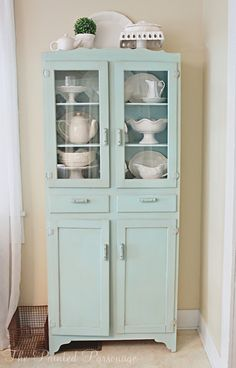 The Painted Parsonage: Vintage Cupboard Redo ...I have this same piece. Just need to finish mine.