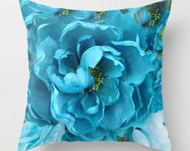 Aqua Blue Flower Pillow, Shabby Chic Decor, Blue Aqua Throw Pillow, Throw Pillows Home Decor, Floral Pillows, Aqua Floral Decorative Pillows