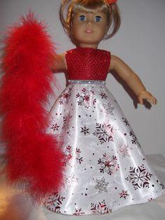 American Girl Doll Christmas Dress Red Snowflakes