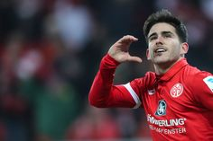 Jairo Semperio of Mainz celebrates his team's second goal during the Bundesliga match between 1. FSV Mainz 05 and FC Augsburg at Opel Arena on February 10, 2017 in Mainz, Germany.