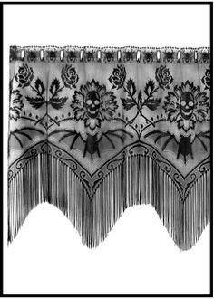 Home Decor --skulls, bats & roses window valence Dark Home Decor, Goth Home Decor, Gothic House, Victorian Gothic, Victorian Life, Lace Window, Skull Decor, Haunted Mansion, My Dream Home