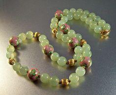 "Chinese Jade Cloisonne Necklace / Chinese Jade Cloisonne Necklace, Vintage Gold Filled Melon Bead, Translucent Jadeite, Green Pink Enamel, 28"" Long 117 grams"