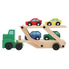 756298c2ea24f9 Melissa & Doug Car Carrier Truck and Cars Wooden Toy Set With 1 Truck and 4  Cars