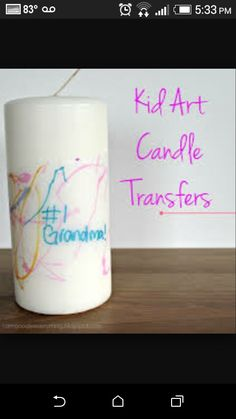 What you need: White candlestissues paper- we used American Greetings brand!permanent markerswax paperHave you kid(s) color on the tissue paper with the permanent markers. I told my son we were making some special for Grandma and Nana for Mother's Day. I also told him these were special markers and special paper and he couldn't write on his face with them! Be sure to protect your work surface because the markers will leak through the thin tissue paper.  After the coloring is done, cut…