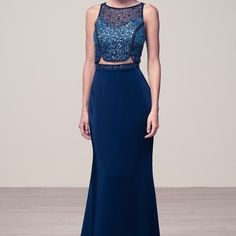 Navy blue 2 piece two piece prom dress #rr5547