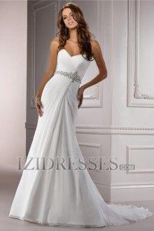 A-Line Sheath/Column Strapless Sweetheart Chiffon Wedding Dress
