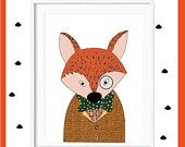 The tickled pink fox nursery decor by thetickledpinkfox Fox Nursery, Nursery Decor, Mr Fox, Pink Fox, My Works, Tie, Unique Jewelry, Handmade Gifts, Poster